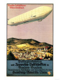 Lantern Press - Baden-Baden, Germany - Luftschiff Zeppelin Airship over Town Poster - Reprodüksiyon