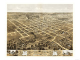 Columbia, Missouri - Panoramic Map Art by  Lantern Press
