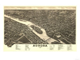 Aurora, Illinois - Panoramic Map Art