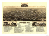Cheyenne, Wyoming - Panoramic Map Art