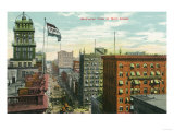 Rochester, New York - Aerial View of Main Street Poster by  Lantern Press