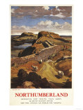 Northumberland, England - Hadrian's Wall and Sheep British Rail Poster Poster by  Lantern Press