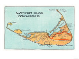 Nantucket, Massachusetts - Map of the Island Print by  Lantern Press
