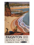 Paignton, England - British Railways Girl Looking over a Cliff Poster Print