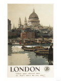 London, England - Great Western Railway St. Paul's Travel Poster Prints by  Lantern Press