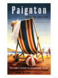 Paignton, England - British Railways Beach Chair and Ball Poster Posters by  Lantern Press
