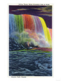 Niagara Falls, Canada - Horseshoe Falls Illuminated at Night Poster by  Lantern Press