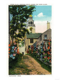 Nantucket, Massachusetts - Stone Alley View of South Tower and Town Clock Posters by  Lantern Press