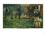 Maine - Camp Ground Scene of Men Camping in Maine Woods Posters