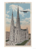 New York, NY - St. Patricks Cathedral and Airplane Posters by  Lantern Press