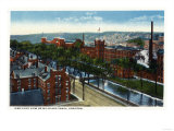 Lewiston, Maine - Aerial View of the Mills and Canal Print by  Lantern Press
