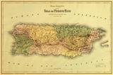 Puerto Rico - Panoramic Map Posters af  Lantern Press