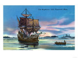 Plymouth, Massachusetts - The Mayflower Landing in 1620 Scene Posters