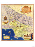 Spanish and Mexican Ranchos of Los Angeles - Panoramic Map Posters by  Lantern Press