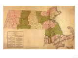 Massachusetts - Panoramic Map Print
