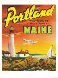 Portland, Maine - The Playground Metropolis, View of a Plane and Lighthouse Posters by  Lantern Press