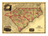 North and South Carolina - Panoramic Map Poster von  Lantern Press