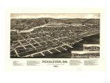 Oregon - Panoramic Map of Pendleton Posters