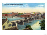Maine - View of the North Bridge Connecting Lewiston and Auburn Posters by  Lantern Press