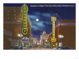 Portland, Oregon - View of Broadway at Night, the Paramount Theatre Scene Poster by  Lantern Press