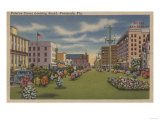 Pensacola, FL - South View of Palafox St. & Flowers Poster by  Lantern Press