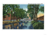 Lewiston, Maine - View of Mills Along the Canal Poster by  Lantern Press