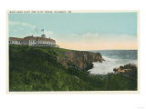 Ogunquit, Maine - View of Bald Head Cliff and Exterior of Cliff House Poster