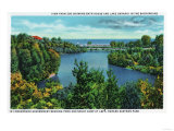 Rochester, NY - Rochester Zoo View of Lake Ontario and Durand Eastman Park Print