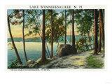 Lake Winnipesaukee, Maine - View of the Old Man Rock Formation Print by  Lantern Press