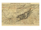 Mountains of North Carolina and Tennessee - Panoramic Map Poster
