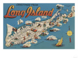 Long Island, New York - Greetings From Poster by  Lantern Press