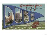 Durham, North Carolina - Duke University Poster by  Lantern Press