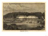 Oregon - Panoramic Map of Oregon City Poster