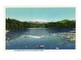 North Conway, New Hampshire - View of Mount Washington and the Saco Print by  Lantern Press