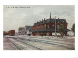 Pocatello, ID - Trains & People Around Train Depot Print