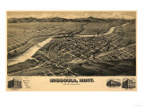 Montana - Panoramic Map of Missoula No. 2 Print
