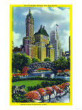 NYC, New York - Central Park Plaza View of 5th Ave Hotels and Bldgs Poster