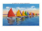 Nantucket, Massachusetts - View of the Rainbow Sailboat Fleet Poster