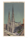 New York, NY - St. Patricks Cathedral Surroundings Prints