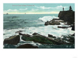 Portland, Maine - Scenic View of Cape Cottage of the Rocky Shore Print