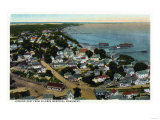Provincetown, Massachusetts - Eastern Aerial View of Town from Pilgrim Monument Print by  Lantern Press