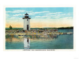 Manchester, Maine - View of Lake Cobbosseecontee and the Lighthouse Poster by  Lantern Press