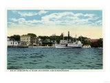 Lake Winnipesaukee, Maine - Mt. Washington Steamer at Wolfeboro Wharf Poster