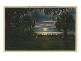 Panama City, FL - Moonlit View of St. Andrews Bay Posters by  Lantern Press