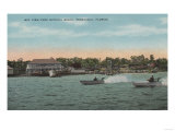 Pensacola, FL - Bay View of Beach with Speed Boats Posters by  Lantern Press