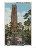 Lake Wales, FL - View of Singing Tower & Flamingos Posters by  Lantern Press