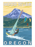 Hood River, OR - Wind Surfers & Kite Boarders Posters by  Lantern Press