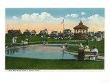 Oak Bluffs, MA - Martha's Vineyard, Ocean Park View of Lake and Band Stand Print by  Lantern Press