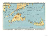Massachusetts - Detailed Map of Martha's Vineyard and Nantucket Islands Posters
