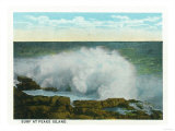 Portland, Maine - Peaks Island View of the Surf Print by  Lantern Press